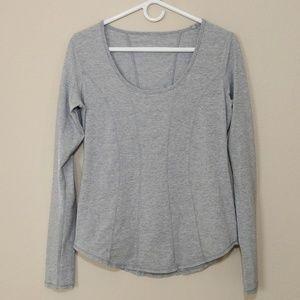 Lululemon Between the Lines Shirt Top Gray 8 Med